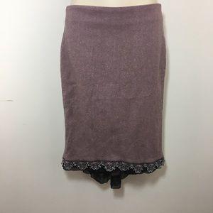 Anthropologie Elevenses wool embellished skirt
